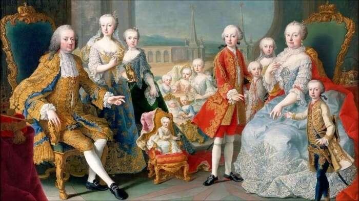 Блеск дома Мария Терезия и её муж Франц Стефан Лотарингский с общими детьми. \ Фото: tagesspiegel.de.