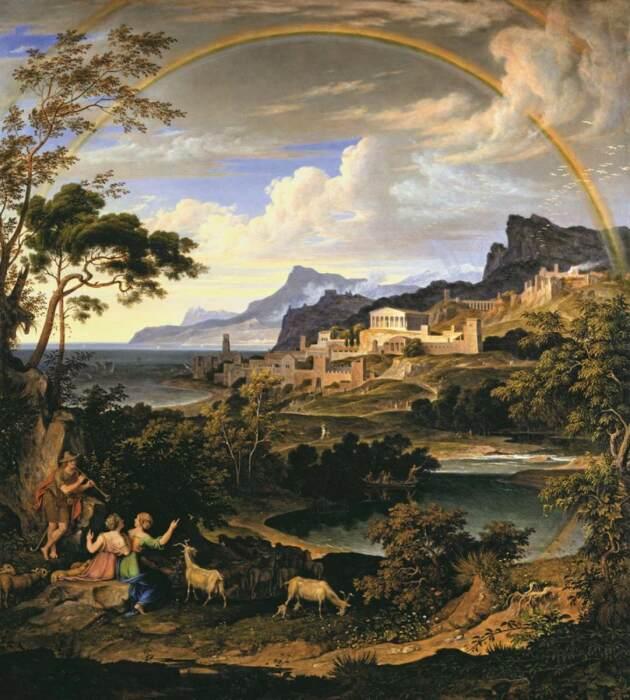 Пейзаж с радугой, Йозеф Антон Кох, 1824 год. \ Фото: wga.hu.