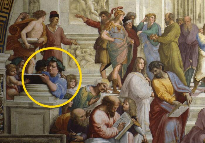 Эпикур на картине Рафаэля «Афинская школа». \ Фото: pinterest.com.