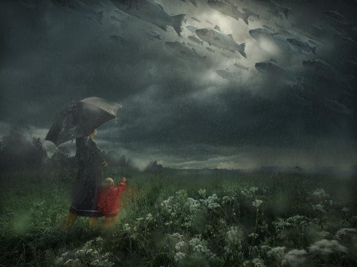 Затерявшиеся в дожде. Автор: Erik Johansson.