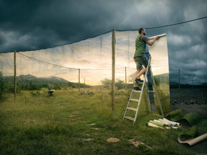 Смена дня и ночи. Автор: Erik Johansson.