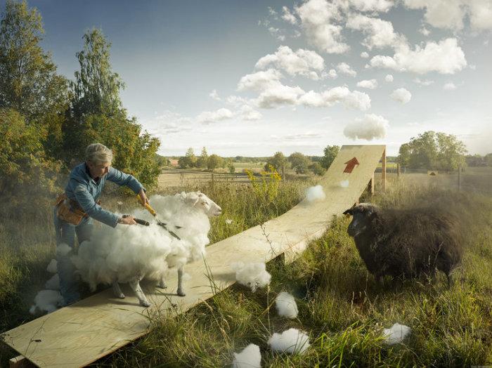 Облако и гром. Автор: Erik Johansson.