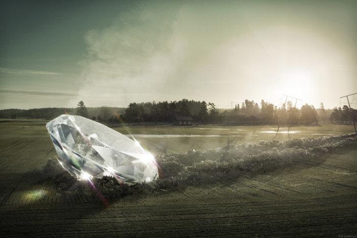 Бриллиант на дороге. Автор: Erik Johansson.