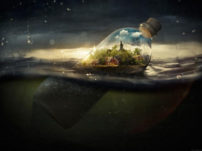 Послание в бутылке. Автор: Erik Johansson.