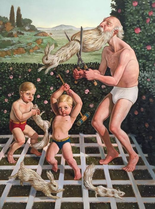 Старик и дети. Автор: Erik Thor Sandberg.