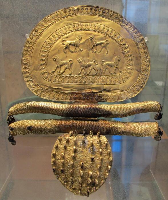 Золотая фибула, украшенная пятью львами (верхняя часть) и 50 утками (нижняя часть) из этрусской гробницы. \ Фото: tfrlive.com.