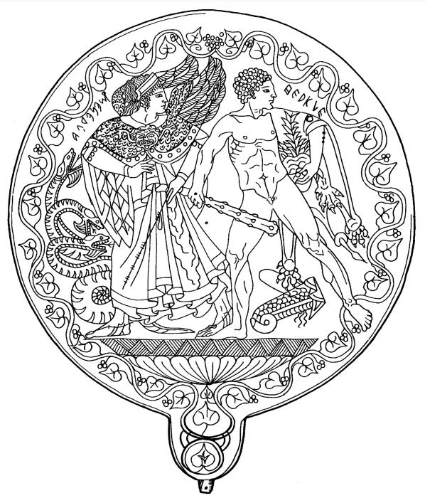 Линейный рисунок бронзового зеркала с выгравированным изображением богини Менрвы и Геракла. \ Фото: wikimedia.org.