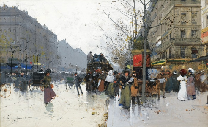 Большие бульвары. Автор: Eugene Galien-Laloue.
