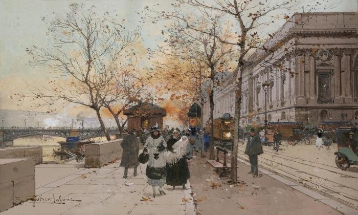 Набережная Лувра. Автор: Eugene Galien-Laloue.