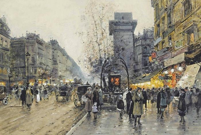 Парижская уличная сцена. Автор: Eugene Galien-Laloue.