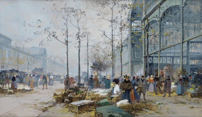 Парижский рынок. Автор: Eugene Galien-Laloue.