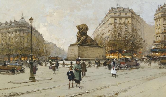 Площадь Данфер-Рошро с Бельфорским львом. Автор: Eugene Galien-Laloue.