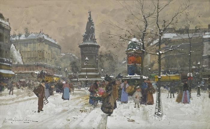 Площадь Клиши зимой. Автор: Eugene Galien-Laloue.