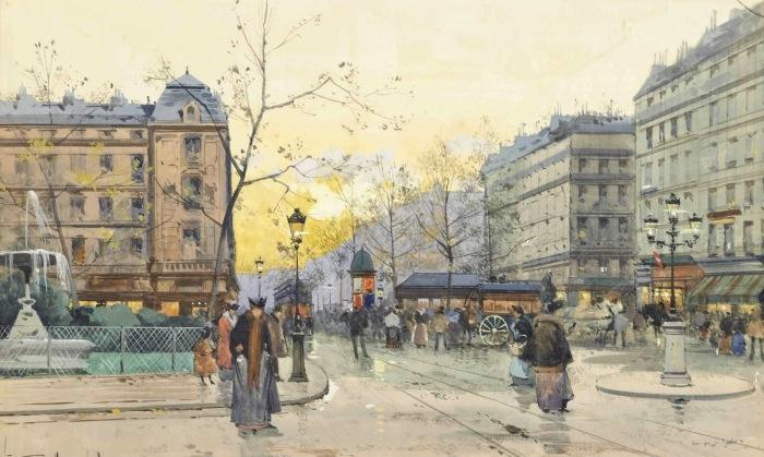 Площадь Пигаль. Автор: Eugene Galien-Laloue.