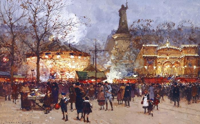 Площадь Республики в праздничный день. Автор: Eugene Galien-Laloue.