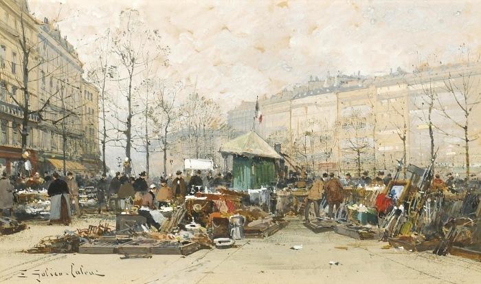 Толкучий рынок в Париже. Автор: Eugene Galien-Laloue.
