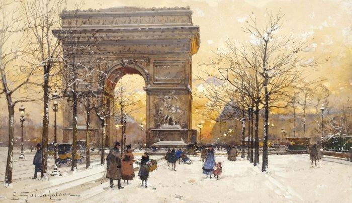 Триумфальная арка в сумерках. Автор: Eugene Galien-Laloue.