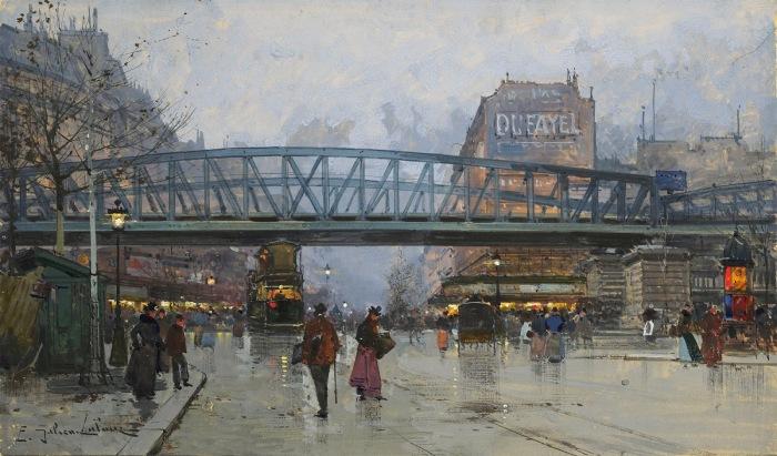 Бульвар де ла Шапель с метромостом. Автор: Eugene Galien-Laloue.