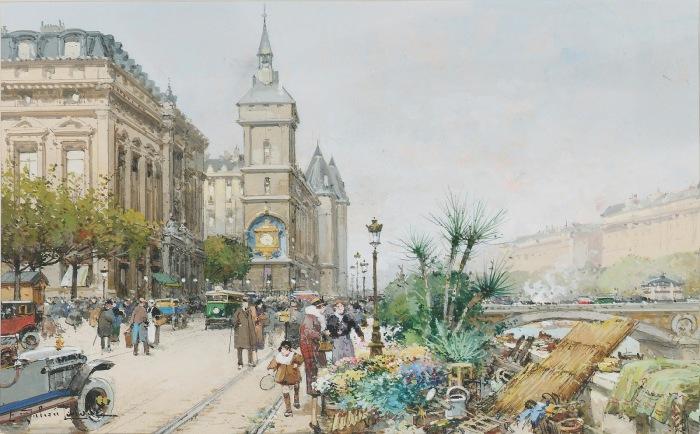 Цветочный рынок на набережной Сены. Автор: Eugene Galien-Laloue.