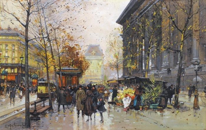 Цветочный рынок у ла Мадлен. Автор: Eugene Galien-Laloue.