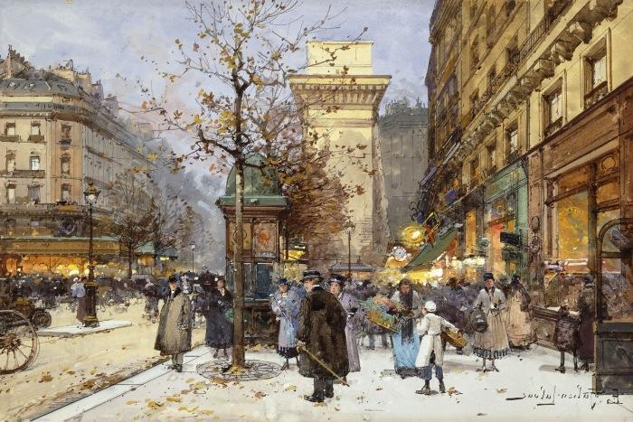 Бульвар Сен-Дени в сумерках. Автор: Eugene Galien-Laloue.