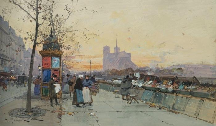 Вещевой рынок и Нотр-Дам де Пари вдали. Автор: Eugene Galien-Laloue.