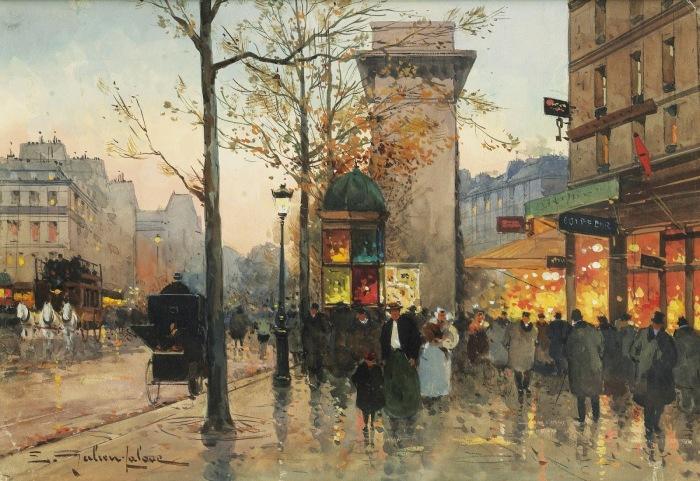 Ворота Сен-Дени, оживлённая улица. Автор: Eugene Galien-Laloue.