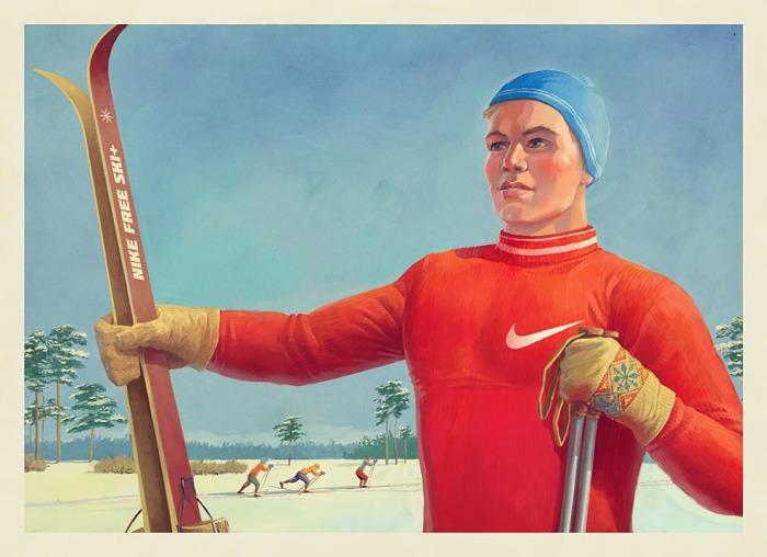 Советское прошлое и футуристическое будущее: Атмосферные иллюстрации с узнаваемыми персонажами