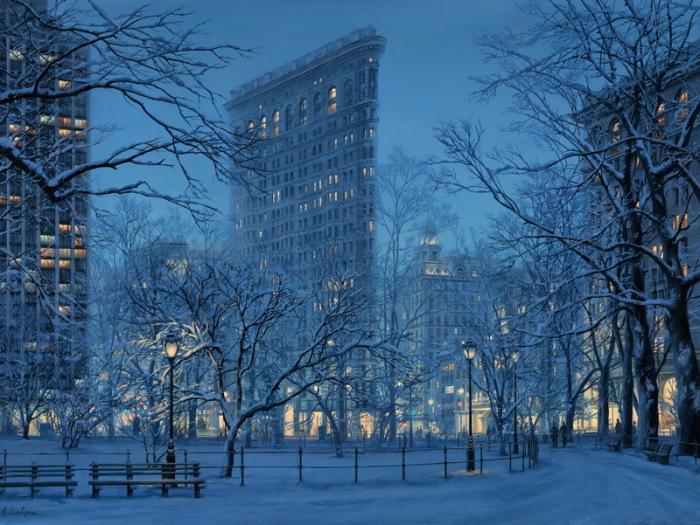 Зимний пейзаж. Автор: Евгений Лушпин.