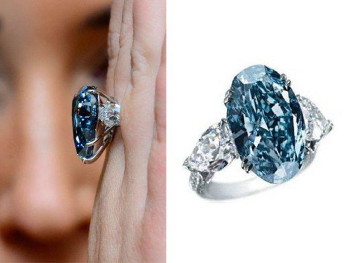 Оригинальное кольцо с голубым бриллиантом. \ Фото: sarafaportal.allindiasarafabazaar.com.