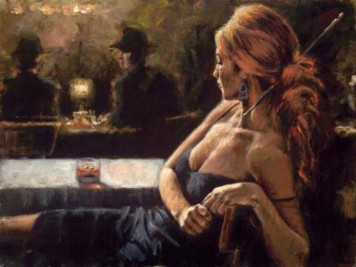 Работа из серии «В баре». Автор: аргентинский художник Фабиан Перез (Fabian Perez).