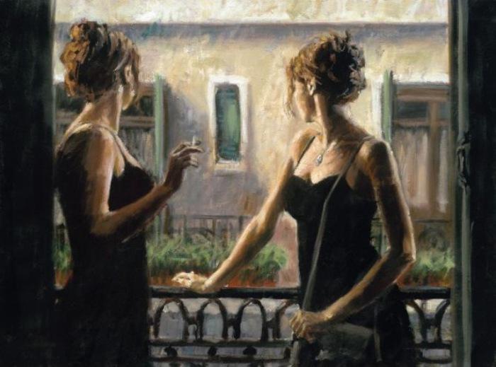 Работа из серии «Балконы». Автор: аргентинский художник Фабиан Перез (Fabian Perez).