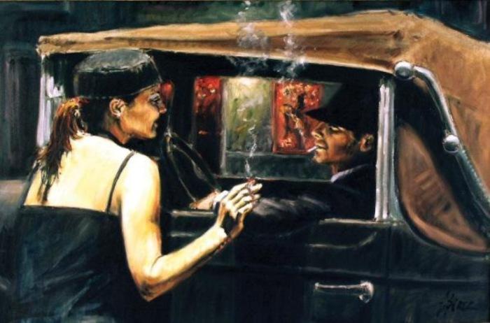 Работа из серии  «На улице.» Автор: аргентинский художник Фабиан Перез (Fabian Perez).