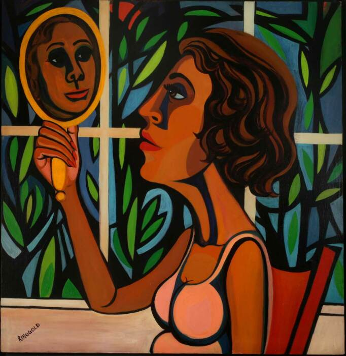 Серия Американский народ (Американские люди), №16: Женщина, смотрящая в зеркало, Фейт Ринггольд, 1966 год. \ Фото: akwayj.home.blog.