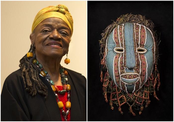 Слева направо: Портрет Фейт Ринггольд. \ Нигерийская маска для лица №1, Фейт Ринггольд, 1976 год.