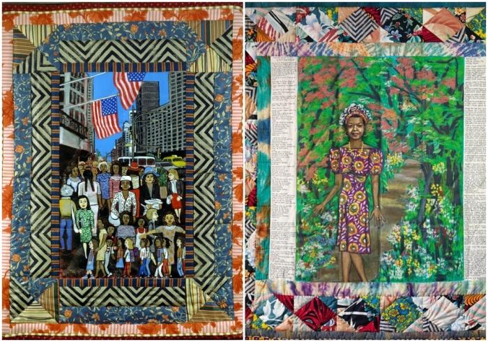 Слева направо: Одеяло: Работающие женщины, Фейт Ринггольд. \ Одеяло: Жизнь Майи, Фейт Ринггольд, 1989 год.