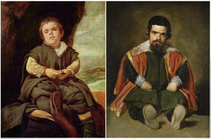 Слева: карлик Франциско Лезано. \ Справа: Карлик, сидящий на полу. \ Фото: risoval-ko.ru.