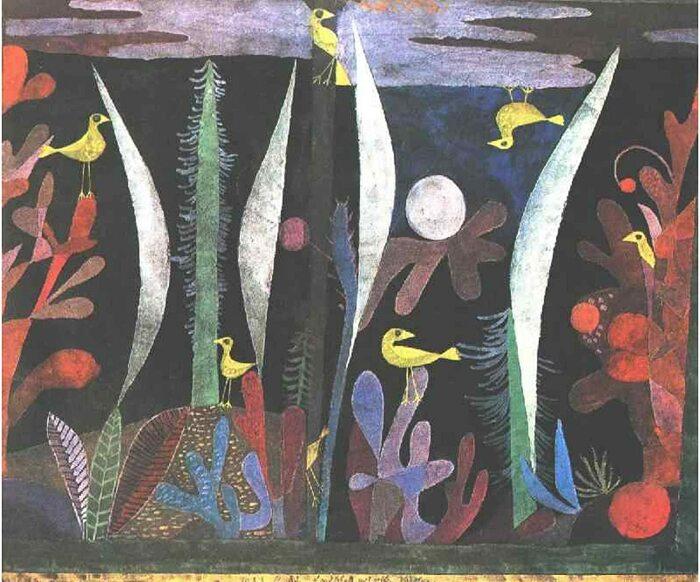 Пейзаж с жёлтой птицей. \ Фото: amazon.com.mx.