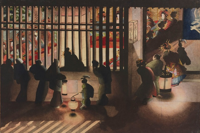 Ёсивара ночью, Кацусика Ой, 1840-е годы, Британский музей.