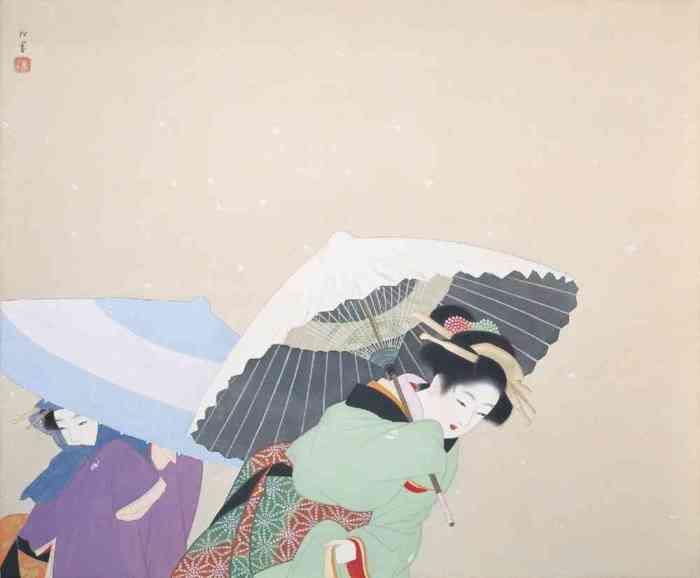 Выпал снег, 1944 год, Уэмура Сёэн, Яматанский художественный музей.