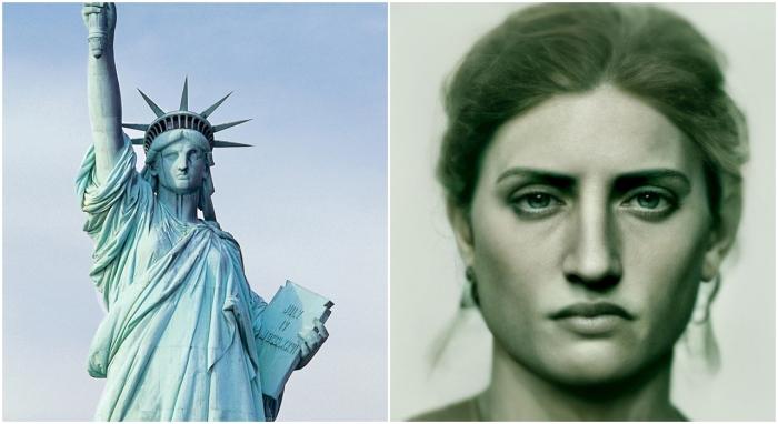 Справа: Статуя Свободы. \ Слева: Фотореалистичный портрет Статуи Свободы. Фото: google.com. и boredpanda.com.