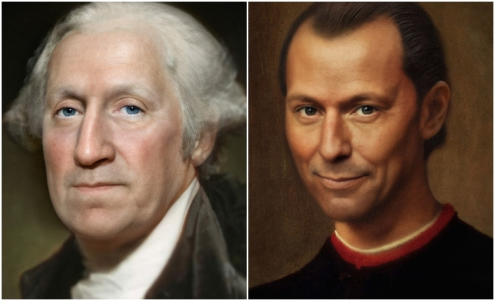 Слева: Джордж Вашингтон. \ Справа: Никколо Макиавелли. \ Фото: Bas Uterwijk.