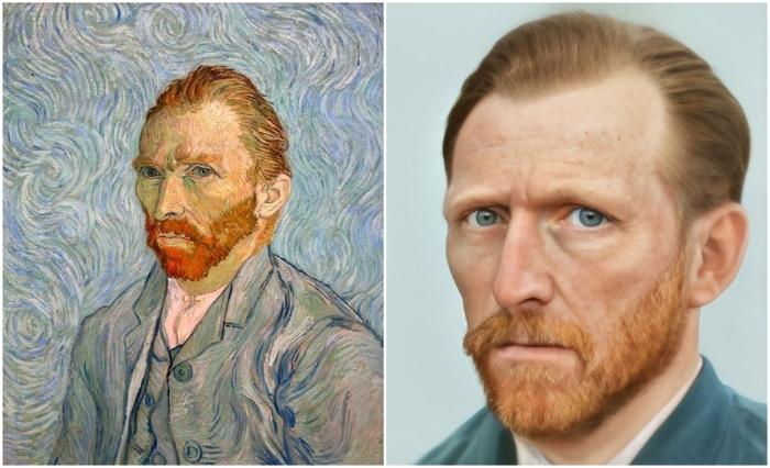 Слева: Ван Гог автопортрет. \ Справа: Фотореалистичный портрет Ван Гога. \ Фото: 2gis.ru. и boredpanda.com.