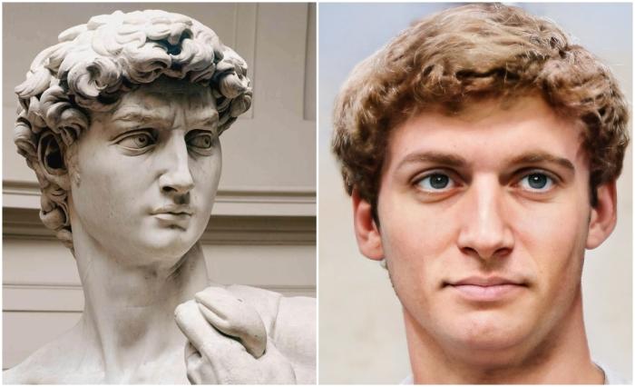 Слева: Давид (Микеланджело). \ Справа: Фотореалистичный портрет Давида. \ Фото: www.pinterest.ru и boredpanda.com.
