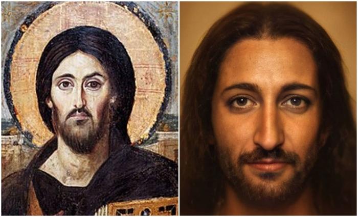 Слева: Портрет Иисуса. \ Слева: Фотореалистичный портрет Иисуса. \ Фото: pinterest.com и boredpanda.com.