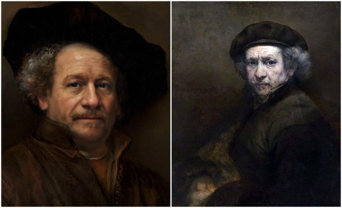 Слева: Фотореалистичный портрет Рембрандта. \ Справа: Автопортрет Рембрандта. \ Фото: boredpanda.com и paintingplanet.ru.