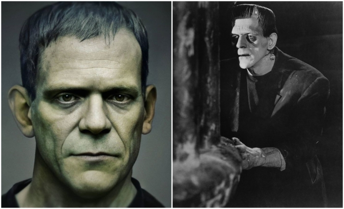 Слева: Фотореалистичный портрет Франкенштейна. \ Справа: кадр из фильма Франкенштейн. \ Фото: google.com.ua.