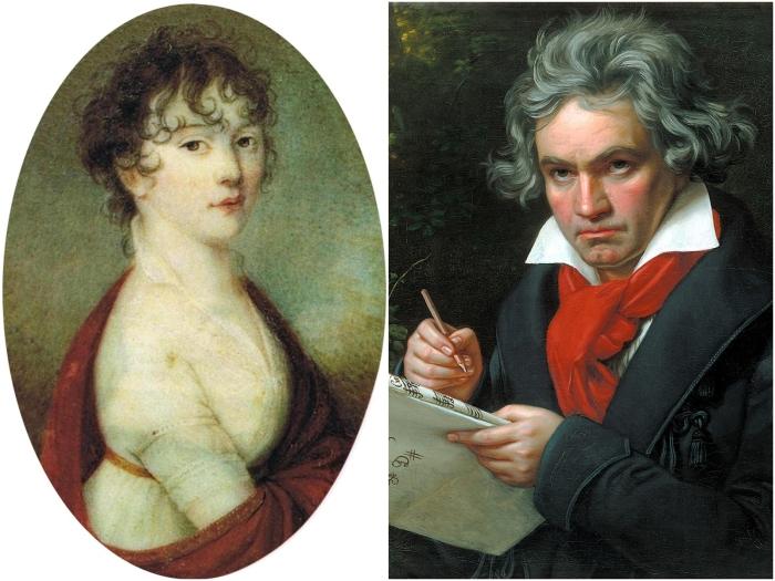 Слева: Джульетта Гвиччарди. \ Справа: Людвиг Ван Бетховен. \ Фото: thetimes.co.uk.