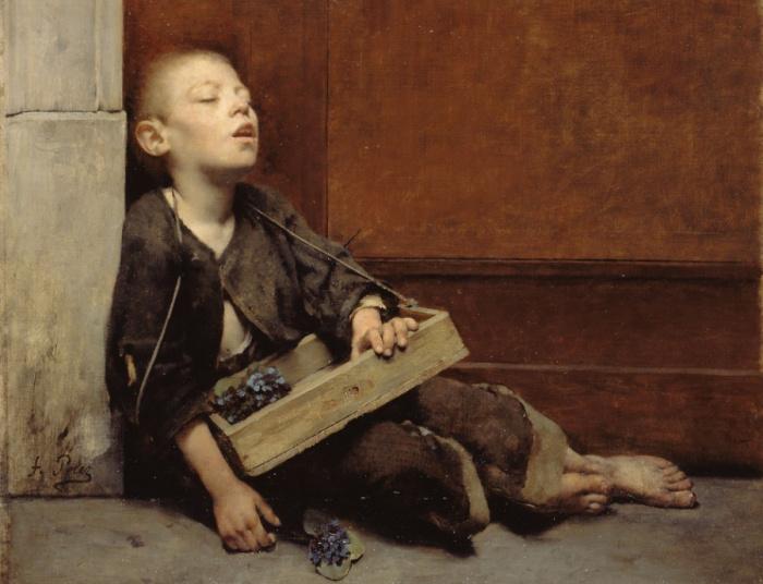 Мученик (Продавец фиалок), 1885 год, Малый Дворец, Париж. Автор: Fernand Pelez.