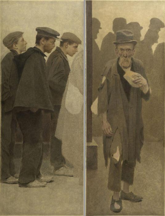 Из эскизов для неоконченной работы Кусок хлеба, ок. 1908 года, Малый Дворец, Париж. Автор: Fernand Pelez.